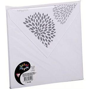 Pollen 53100C - Enveloppe 165x165, 120 g/m², coloris blanc, doublure Dahlias, en paquet cellophané de 10