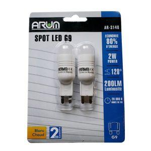 Arum Lighting Blister de 2 Spots LED 2W G9 Blanc chaud -