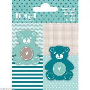 Toga Die cuts à assembler - Color factory - Nounours Bleu et taupe - 20 formes en papier