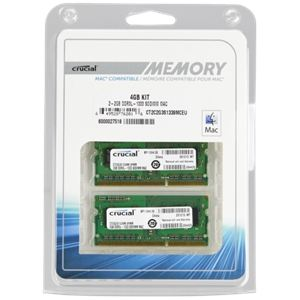 Crucial CT2K2G3S1339M - Barrettes mémoire 2 x 2 Go DDR3 1333 MHz SoDimm 204 broches pour Mac