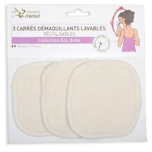 Les Tendances d'Emma 3 carrés démaquillants lavables coton biface bio