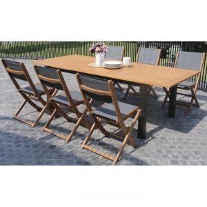Finlandek Heimo - Ensemble table extensible de jardin + 6 chaises eucalyptus fsc