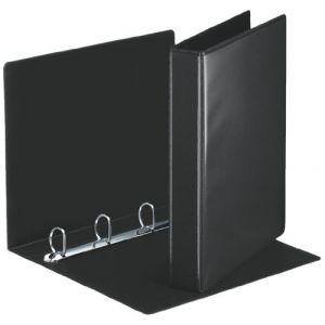 Esselte Classeur 4 Anneaux Personnalisable, Couverture Plastique avec Effet Simili Cuir, Diamètre Anneaux 30mm, A4, Noir, 49717