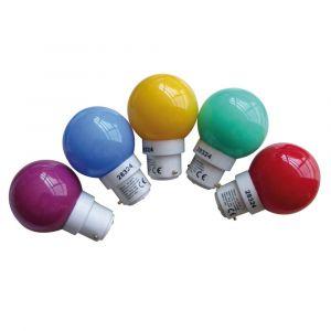 Tibelec 361990 Ampoule de Rechange B22 LED Multicolore pour Guirlande Plastique Lot de 5