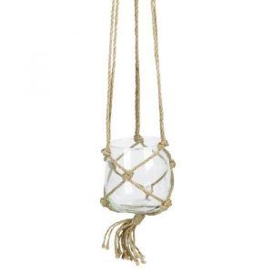 Boule en verre à suspendre - Avec corde en chanvre - Ø 12 cm - Blanc transparent