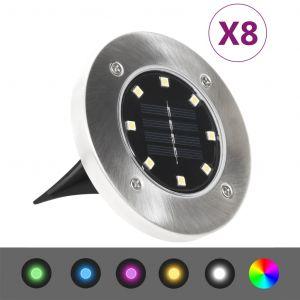 VidaXL Lampes solaires de sol 8 pcs Lumières LED Couleur RVB