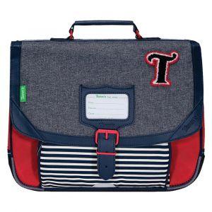 Tann's Cartable Les Chinés Teddy gris et rouge 35 cm Gris