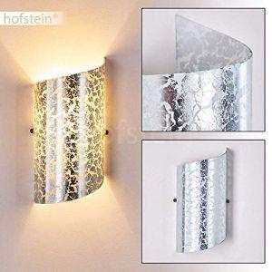 Hofstein Applique murale Pordenone en verre argenté - lampe d'intérieur pour chambre à coucher - douille E14 - avec effets lumineux