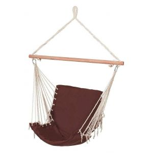 Hamac chaise fauteuil suspendu extérieur marron 130 cm