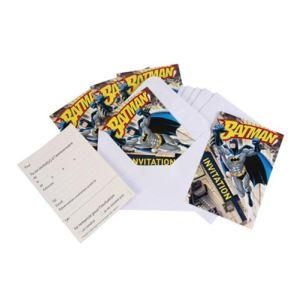 6 cartes d'invitation et enveloppes Batman