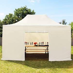Intent24 Tente pliante 3x4,5 m sans fenêtre beige PROFESSIONAL tente pliable ALU pavillon barnum.FR