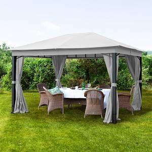 Intent24 Fr Tonnelle de jardin 3x4m Polyester pelliculé polyuréthane 280 g/m² taupe imperméable