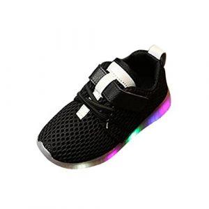 Oyedens Mode Sneakers Bébé Garçon Fille LED L ineuse Unisex Enfants Baskets Garçons Filles Chaussures de Sport Antidérapantes Feux Clignotants Chaussures De Course Outdoor 1 à 5 5 Ans