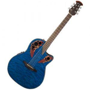 Ovation Guitars Celebrity Elite Plus CE44P8TQ Transblue Quilted Maple