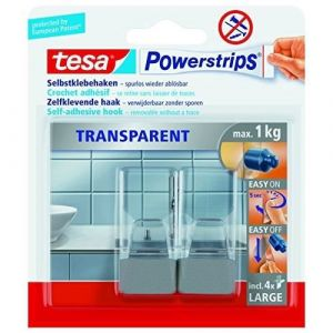 Tesa Crochet transparent large chrome mat Powerstrips® 58812-00000 transparent, chrome 1 l'ens.