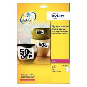 Avery-Zweckform Etiquette ultra résistante laser 199.6 x 139 mm L7068-20 blanche - Pochette de 40