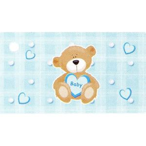 10 étiquettes papier bleu Baptême garcon