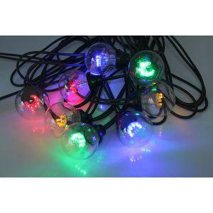 Leblanc Guirlande extérieure guinguette 10 LED multicolores avec filament longueur 5m Trad...