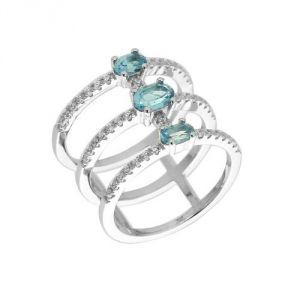 Blue Pearls Cry J419 X - Bague en argent et 49 cristaux Swarovski