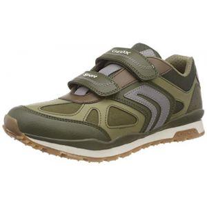 Geox J Pavel A, Sneakers Basses garçon, Vert (Military/Grey C3225), 38 EU