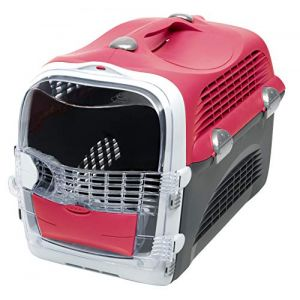 Catit Cage de transport Cabrio - Rouge cerise - Pour chat