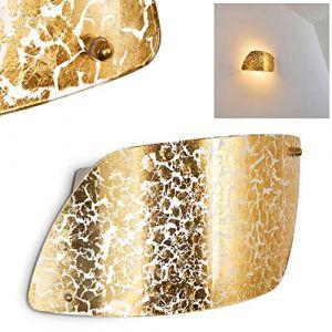 Hofstein Applique murale losange Anzio en verre doré - Spot Up & Down avec effet lumineux pour salon - chambre à coucher - couloir - douille E27 60 Watt