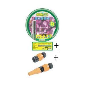 Ribiland PRB4TG15V15 - Batterie de tuyau guipé vert 15m diam.15mm + 4 raccords montés