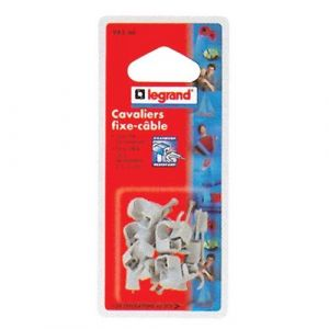 Legrand Cavalier fixe-câble Multifix x20 - D: 10 mm à D: 14 mm - gris - Cavalier, Fixe câble