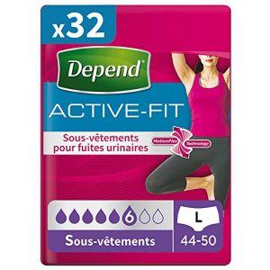 Depend Active Fit 8 Sous-Vêtements Femme Taille L - Lot de 4