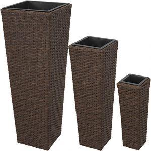 TecTake Lot de 3 Pots de Fleurs en Résine Tressée | Facile à Nettoyer et Hydrofuge | INCL. 3 Pots intérieurs Amovibles es Couleurs au Choix - (Antique | No. 402902)