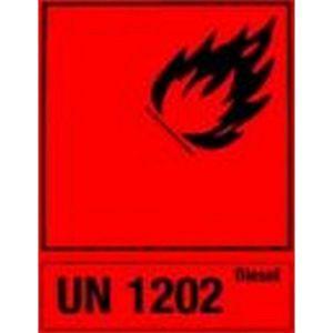 HPA Autocollant marchandise dangereuse pour bidons d'essence en tôle d'acier, Désignation : UN 1203 Essence