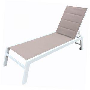Happy Garden Bain de soleil BARBADOS en textilène taupe - aluminium blanc