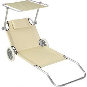 TecTake Chaise longue de plage bain de soleil | Chaise longue à roulettes | 176 cm | -diverses couleurs au choix- (Beige | Nr. 402785)
