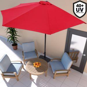 Deuba Demi-Parasol avec manivelle Ø 3m - Terrasse Balcon - Rouge