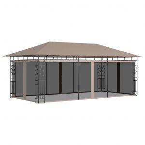 VidaXL Belvédère avec moustiquaire 6x3x2,73 m Taupe 180 g/m²