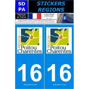 """SDPA SR16 - 2 autocollants pour plaque d'immatriculation """"Département 16 - Région Poitou Charentes"""""""