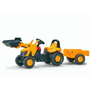 Rolly Toys Tracteur à pédales JCB avec remorque et pelle avant