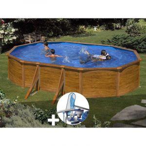 Gre Kit piscine acier aspect bois Sicilia ovale 5,27 x 3,27 x 1,22 m + Kit d'entretien