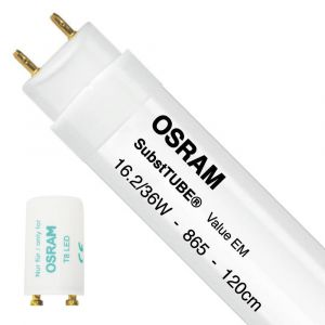 Ledvance Osram SubstiTUBE Value EM 16.2 865 120cm | Lumière du Jour - Starter LED incl. - Substitut 36W