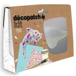 decopatch KIT016O - Loisir créatif - Mini-Kit avec Dauphin - Pot de Colle - Pinceau et 2 Feuilles