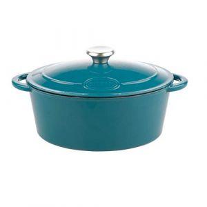 Sitram Cocotte TRADIFONTE - 712958 - 6.5L Fonte émaillée ovale blanc et bleu - Tous feux dont induction