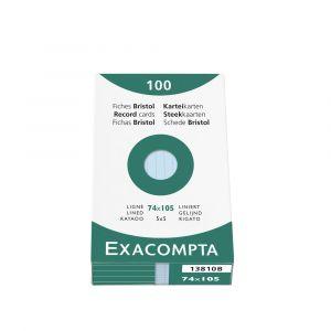 Exacompta Étui de 100 fiches vert bristol ligné non perforé 74x105mm,