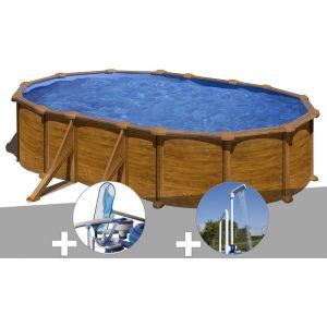 Gre Kit piscine acier aspect bois Mauritius ovale 5,27 x 3,27 x 1,32 m + Kit d'entretien + Douche