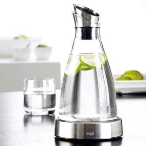 Emsa Carafe avec socle réfrigérant Flow en verre et inox (1,0 L)