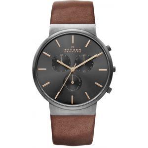 SKAGEN SKW6106 - Montre pour homme avec bracelet en cuir