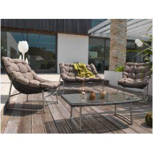 DCB Garden Salon de jardin 4 places en inox et résine tressée marron -