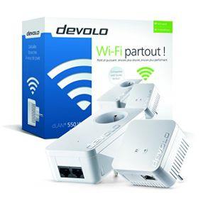 Devolo 9639 - Pack de 2 Adaptateurs CPL dLAN 550 WiFi sans prise gigogne (x2)