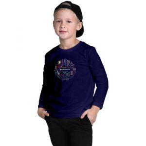 "Promodoro Print "" orchestra"" T-Shirt manches longue enfants, 164, bleu marine"