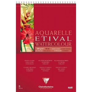Clairefontaine 96386C - Bloc spiralé de 10 feuilles de papier aquarelle Etival grain Classic, 200 g/m², A2