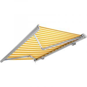 Nemaxx Store banne motorisé 3x2,5m de avec LED, télécommande, imperméable à l'eau, coloris jaune-blanc et blanche